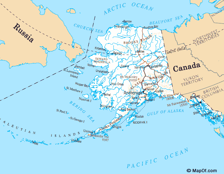 Map of Alaska and Bering Sea  World Map  Pinterest  Alaska and