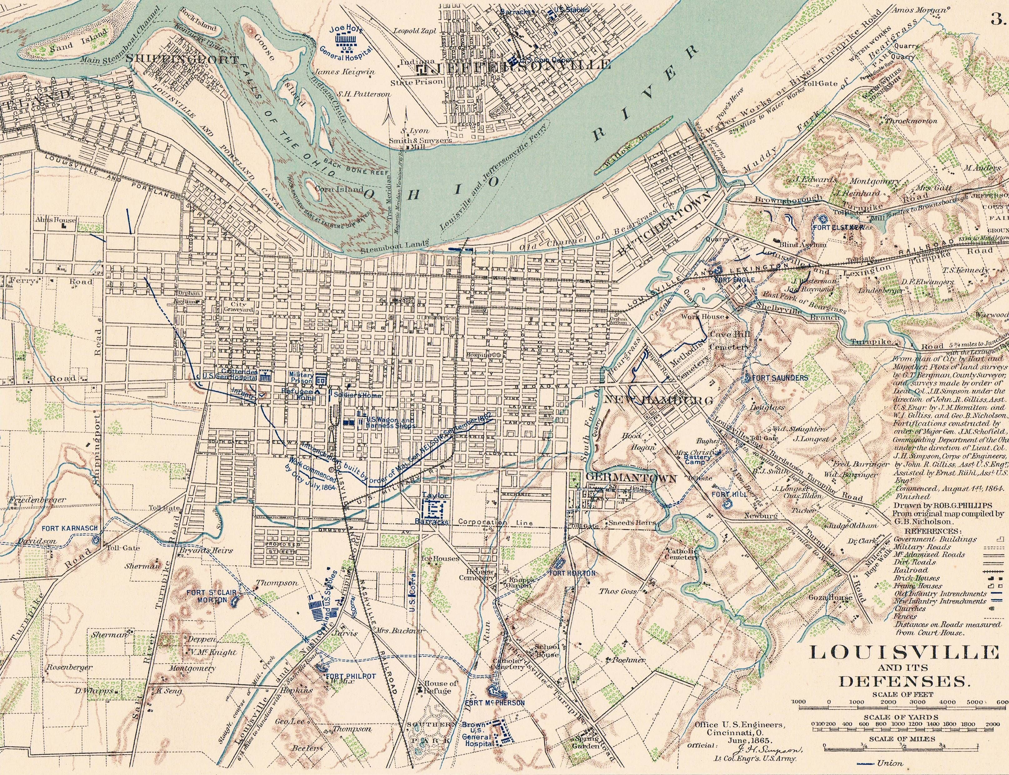 Map of Louisville Ky. June, 1865 Showing Civil War Forts ...
