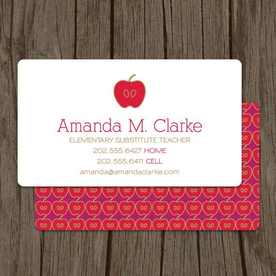 Modern Substitute Teacher Business Card By MalloryHopeDesign 4800 Design Graphique Professionnel Carte Visiter