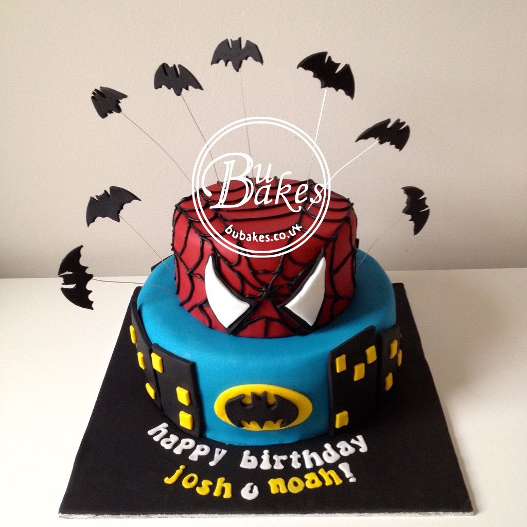 Spiderman and Batman themed cake by bubakescouk Batman Cakes