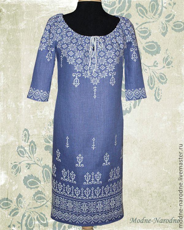 Купить платье с ручной вышивкой Игристое-Серебристое - женская одежда…