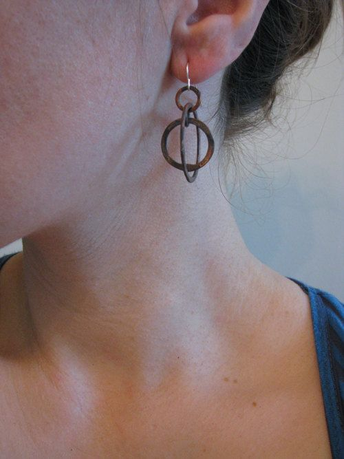 Copper earrings Astronomical Astrolabe Sundial by JamieSpinello