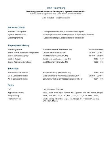 Clean Columns Resume Template Resume Templates and Samples Pinterest