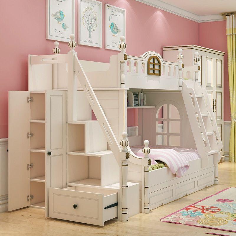 Online Shop European Princess Children Bedroom Furniture Double Bunk Bed Pine Wooden Ladder Aliexpress Mobile Girls Bunk Beds Childrens Beds Bunk Beds