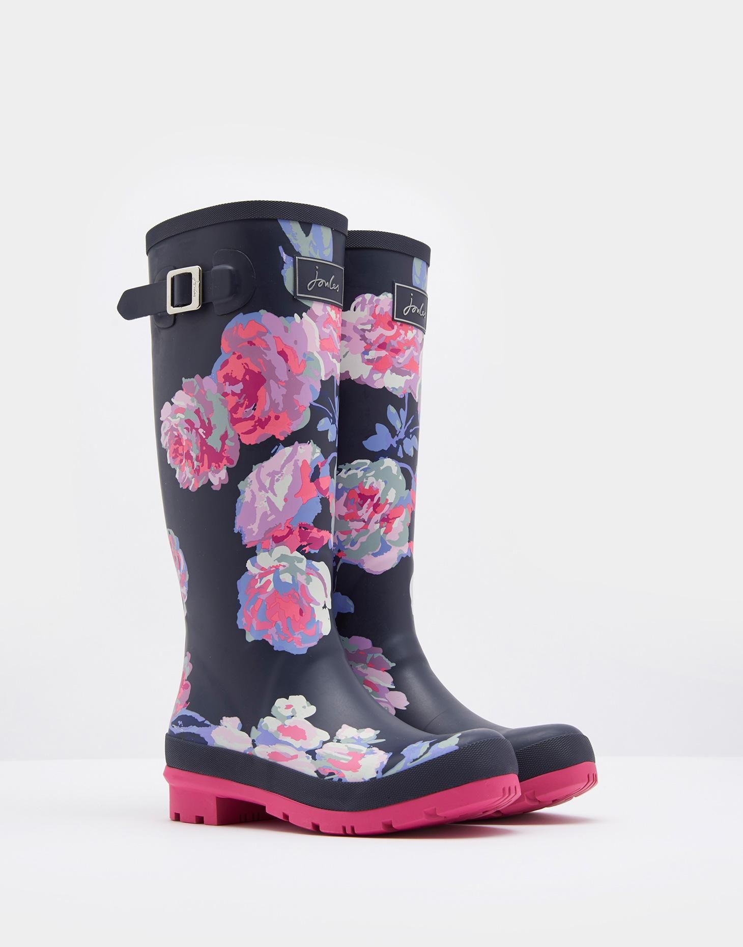 Joules Welly Print French Navy Floral Size 3