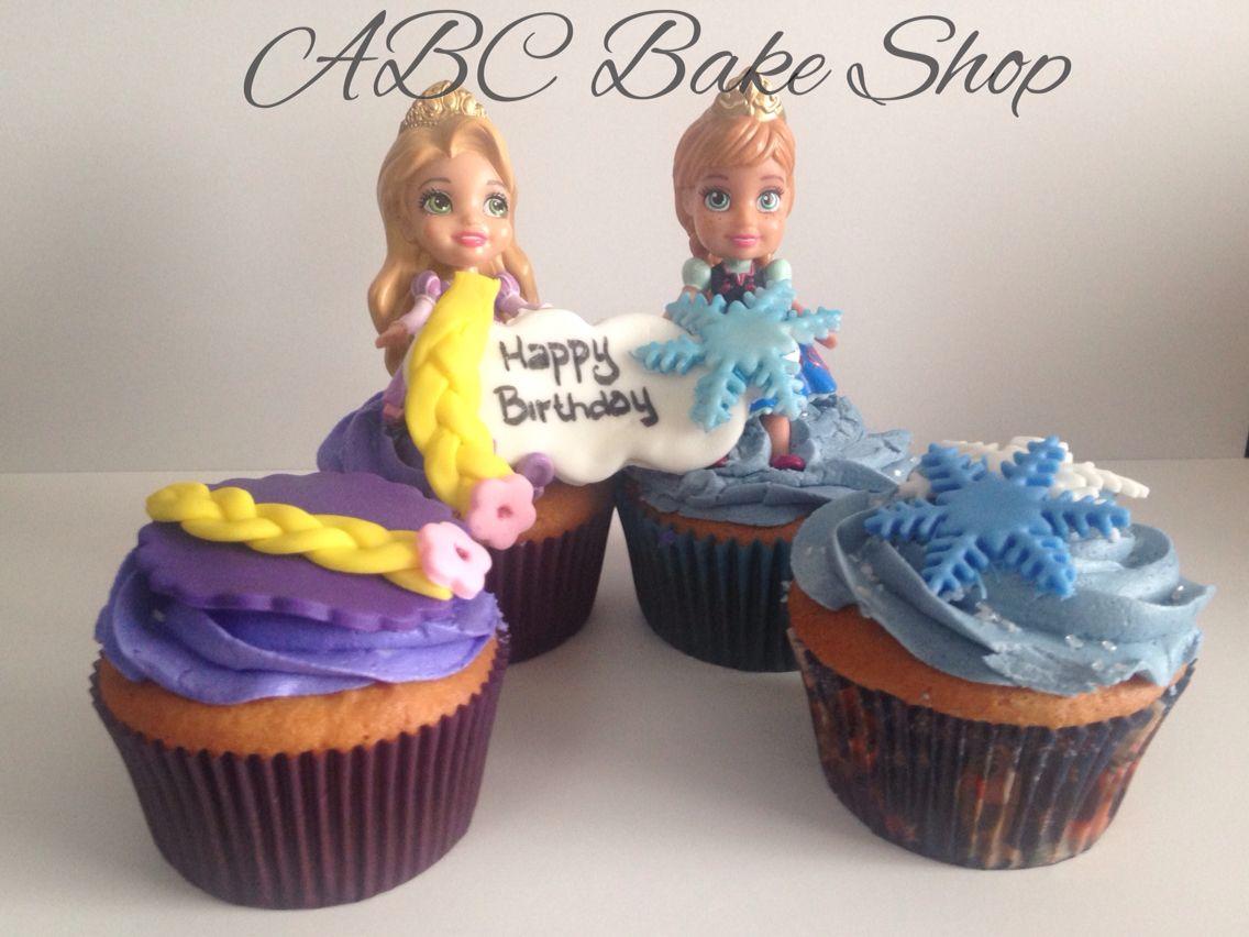 Rapunzel and Frozen Theme Cupcakes