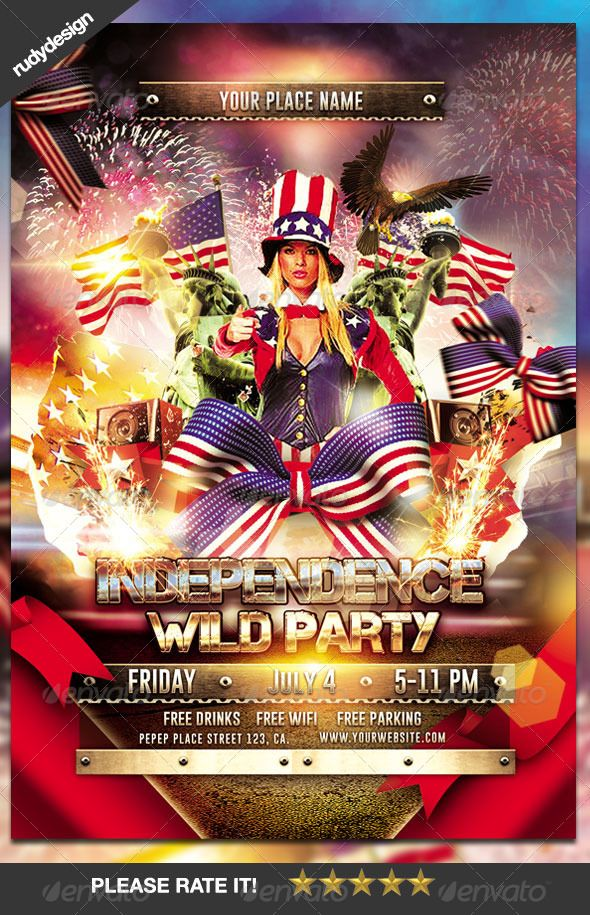 Independence Day Party Flyer Patriots, Fireworks and Labor - independence day flyer