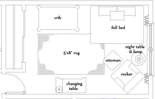 The Nursery Floor Plan Nursery Layout Nursery Guest Room Nursery Guest Room Combo