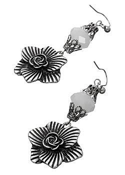 Antique Silver Steel Bloom Floral Drop #Earrings - limited quantities! To purchase visit http://on.fb.me/118Xr27