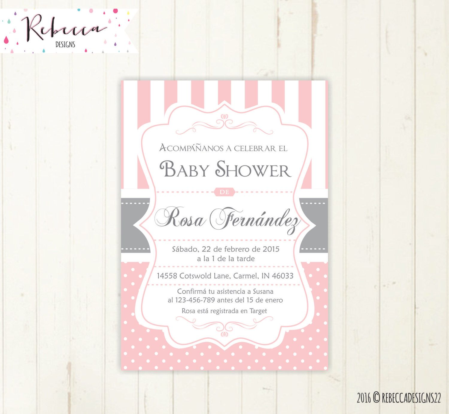 spanish baby shower invitation girl baby shower in spanish invite ...