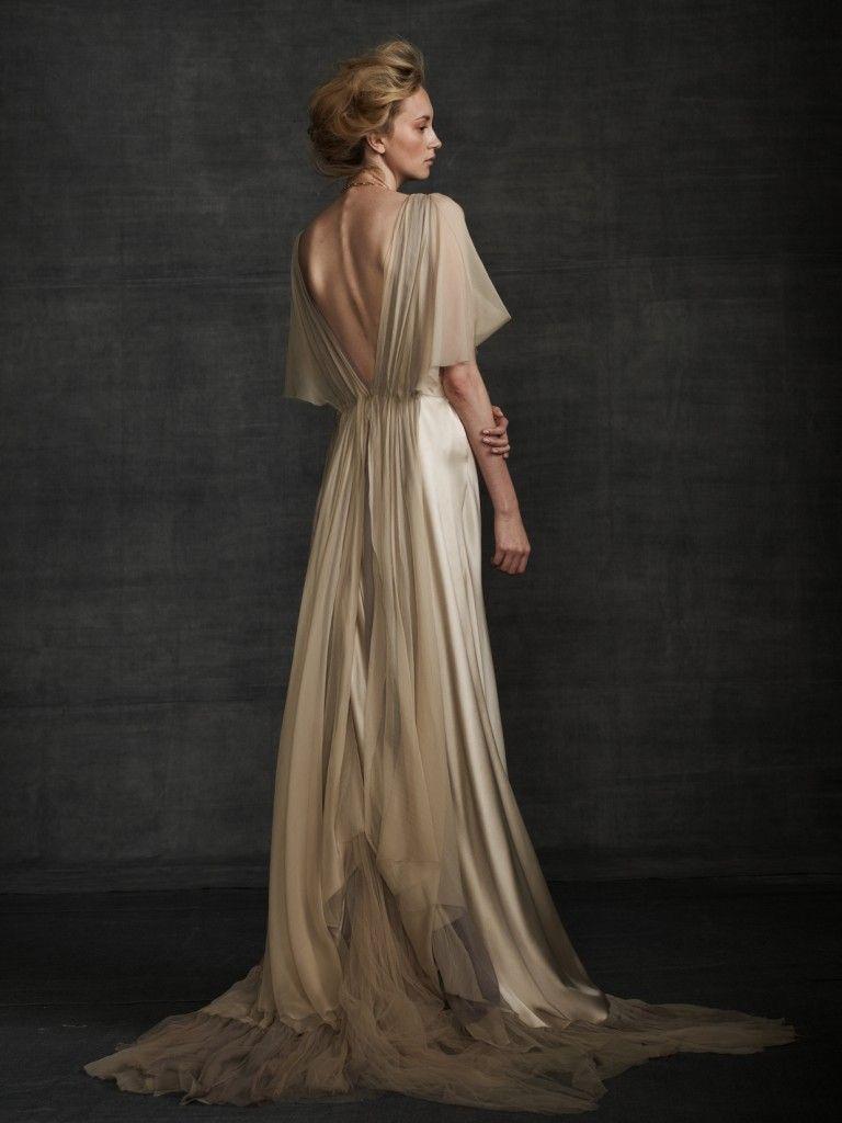Flowy Samuelle gown: #weddingdress #beige   Wedding Dresses - I just ...