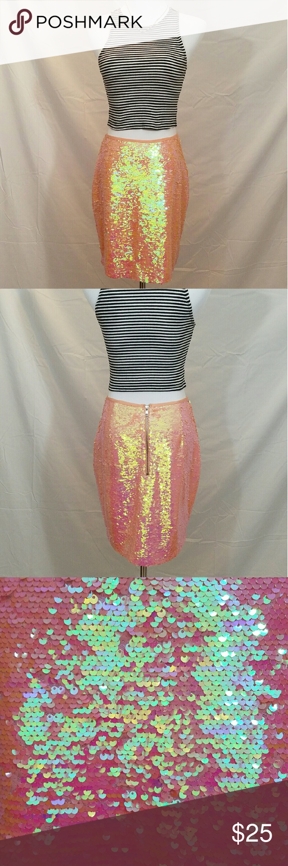 Sequin Skirt Mermaid color shift from peach, pink, green, & blue AKIRA Skirts Midi