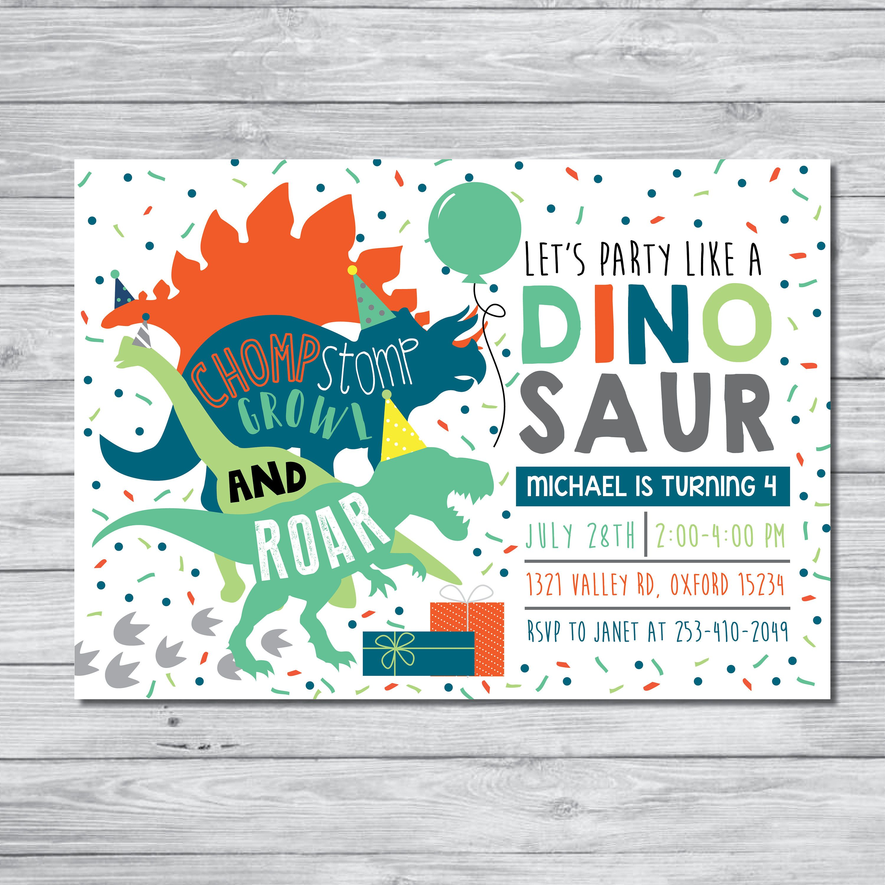 DINOSAUR BIRTHDAY PARTY INVITATION This is a personalized invitation ...