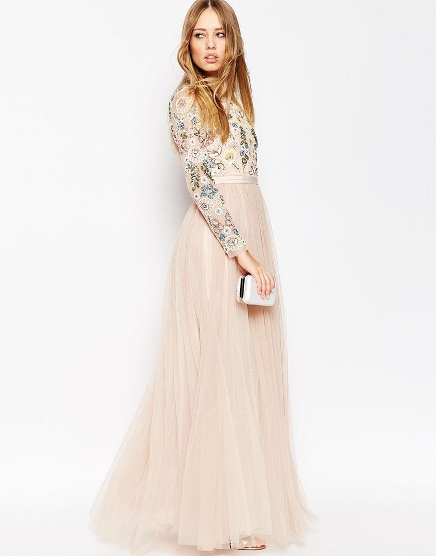 Needle & Thread Backless Sheer Sleeve Tulle Embellished Maxi Dress