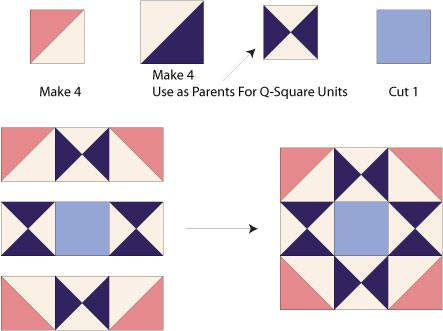 Ohio Star Quilt Block Illustrated Step By Step Instructions In 5