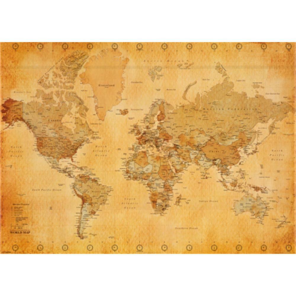 World map vintage style huge art poster print ocm world map vintage style huge art poster print ocm gumiabroncs Images