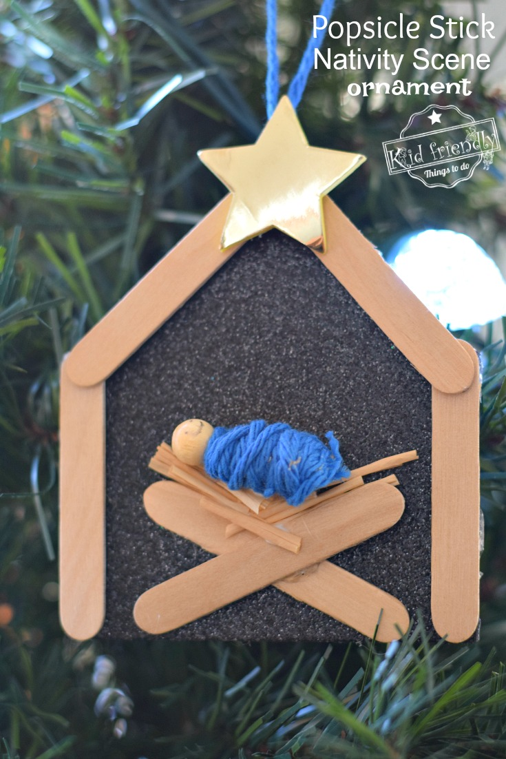 Popsicle Stick Nativity Ornament Craft Kid Friendly Things To Do Christmas Sunday School Crafts Ornaments Diy Kids Preschool Christmas Ornaments