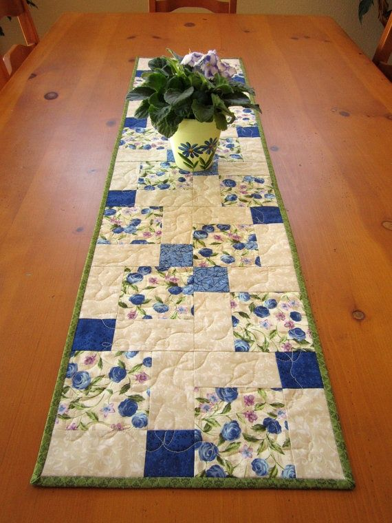 Spring Blue Floral Quilted Table Runner, Handmade Table Runner, Patchwork Runner