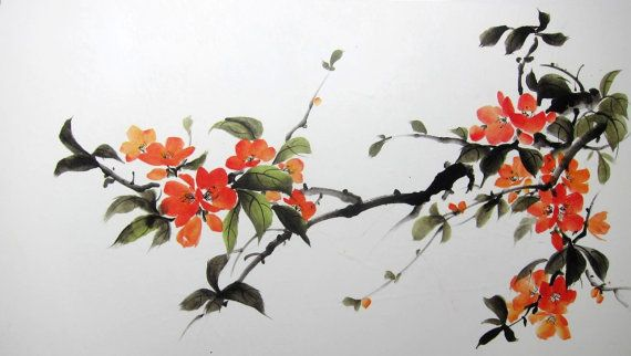 Japanese Quince Japanese Ink Painting On Rice Paper Large 24 X 31