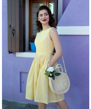 Audrey Classic 1950s Swing Dress In Yellow Gingham