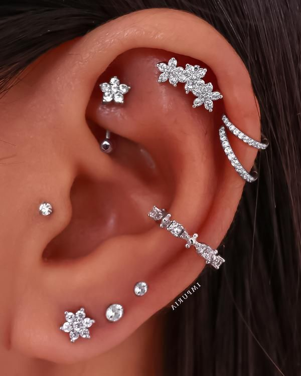 Gardenia Triple Flower Ear Piercing Earring Stud Set – Impuria Ear Piercing Jewelry