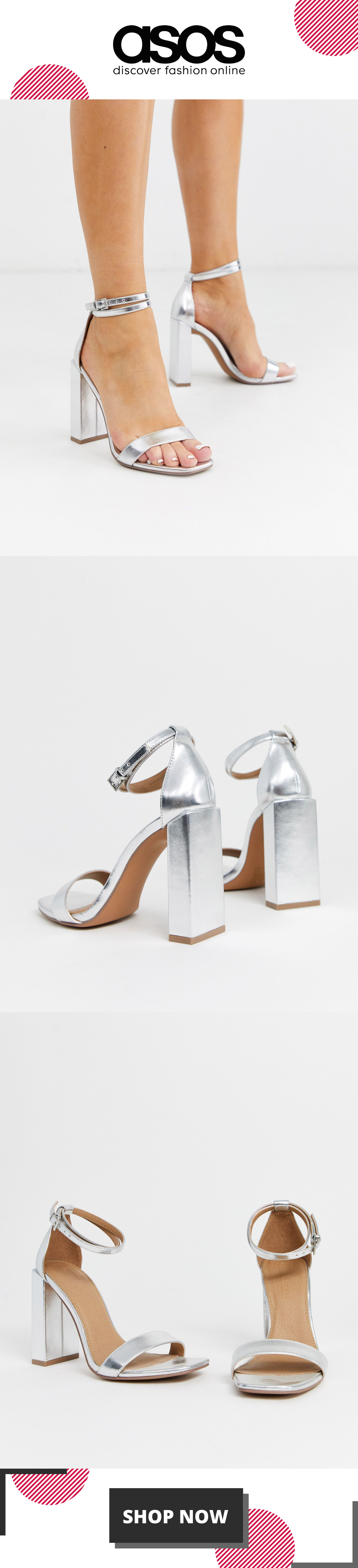 ASOS DESIGN Notice barely there heeled sandals in silver