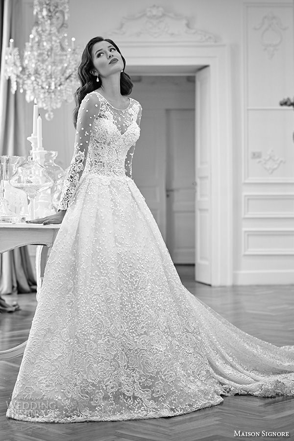 4d5642303bd MAISON SIGNORE 2016  bridal gowns beautiful a line ball gown  wedding dress  illusion lace long sleeves lace embroidered
