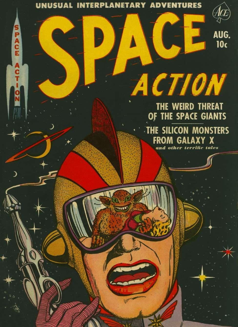 Space Action 2 Ace Comics Comic Book Plus Book Cover Art Vintage Comic Books Vintage Comics