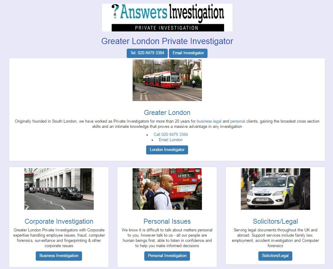 Greater London Private Investigator http//www.answers.uk