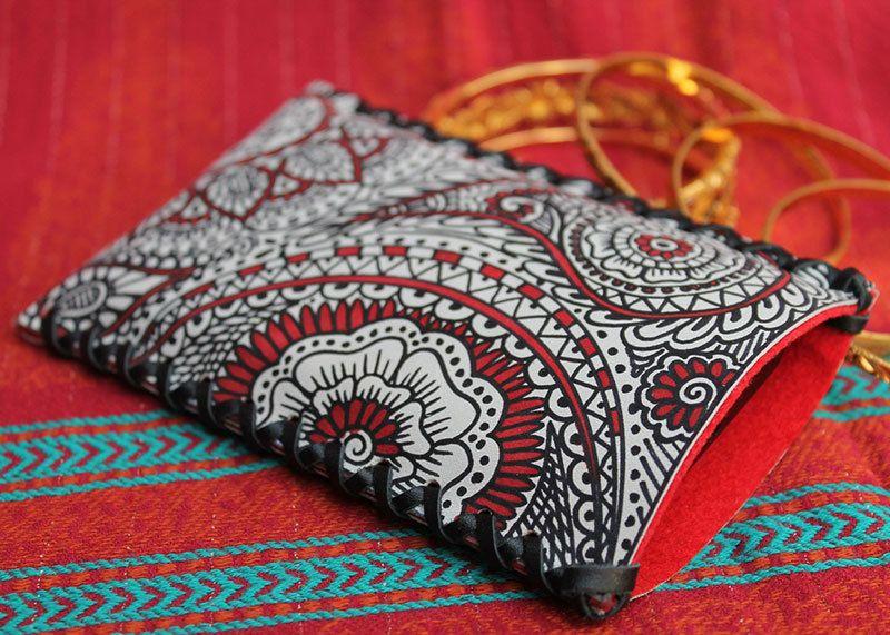 HENNA Handytasche nach Maß Leder Tasche handbemalt von Anarkali auf DaWanda.com