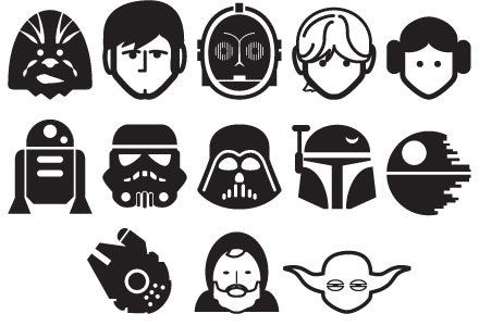 Star Wars Characters Silhouette Vinyl Decals Set Of 12 Make Your Own Removable Star Wars Style Wallpaper Decor Free Shipping Star Wars Characters Silhouette Star Wars Silhouette Star Wars Painting