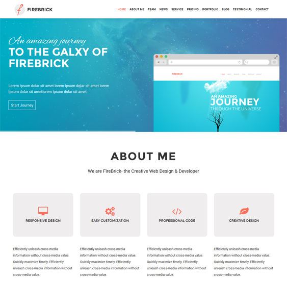 This one page WordPress theme features a responsive layout ...
