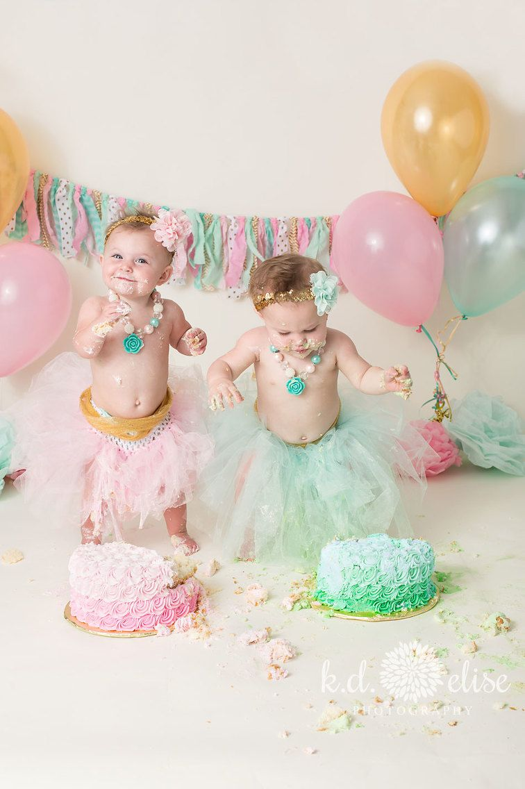 Twin Cake Smash Twin Girls 1st Birthday Twin Cake