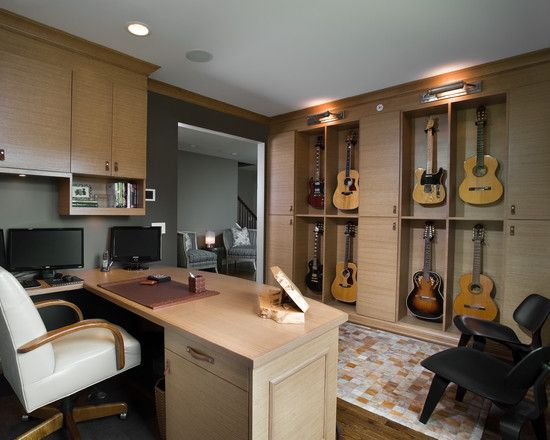 Awesome Office With Guitar Display Storage Music Room Design