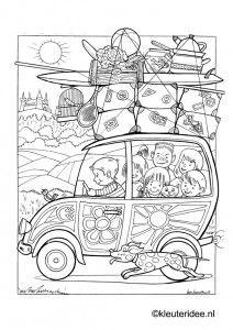 Op Vakantie Met De Auto 2 Kleurplaat Op Kleuteridee On Holiday By