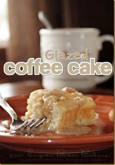 Quick and easy vanilla glazed coffee cake.