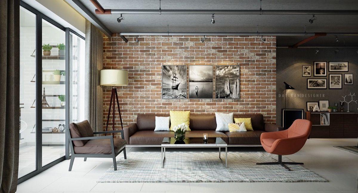 salas de estar con paredes de ladrillo a la vista pared