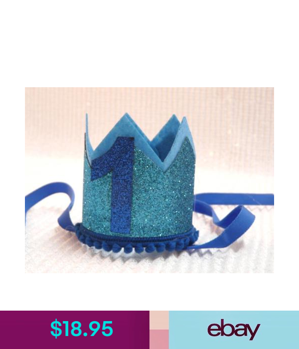 Photo Props Cake Smash Props First Birthday Crown Glitter Blue One Crown