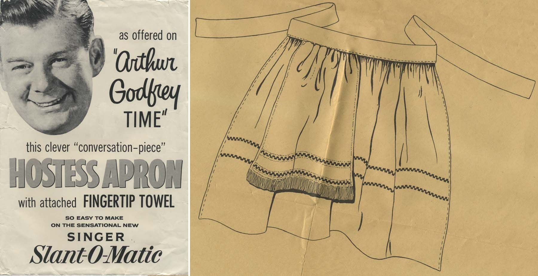 Vintage Apron Sewing Pattern | Hostess Apron with attached Fingertip Towel as offered on Arthur Godfrey Time | Year 1957 | One Size | Issued by the Singer Sewing Machine Company