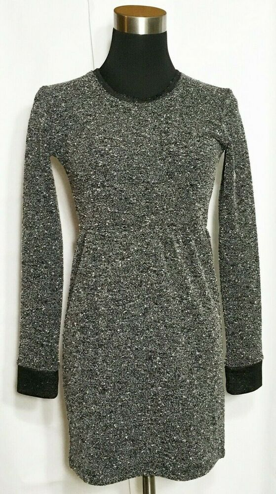 6d9b6efbcd3 Details about Calvin Klein Women Dress Brown Black White Sz S Small Knit  Sweater 3 4 Sleeve in 2019