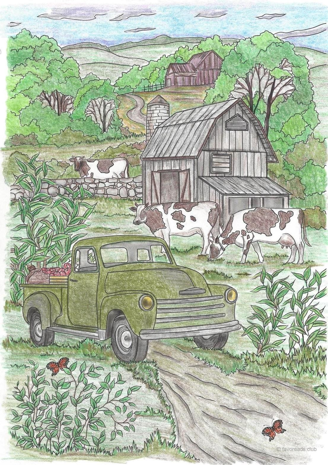 Gorgeous Artwork Featuring A Country Car Submission From Kathy Winnie Red Artwork Creative Haven Coloring Books Farm Art