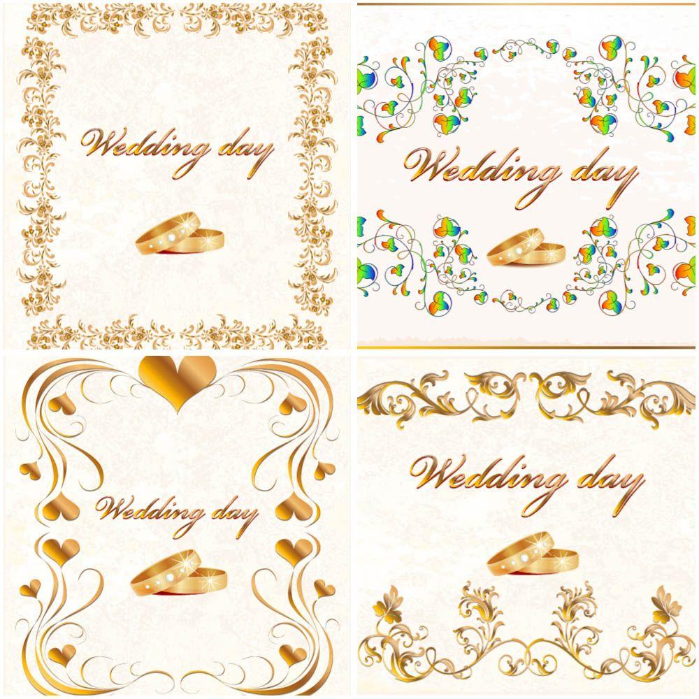 very beautiful wedding frames vector