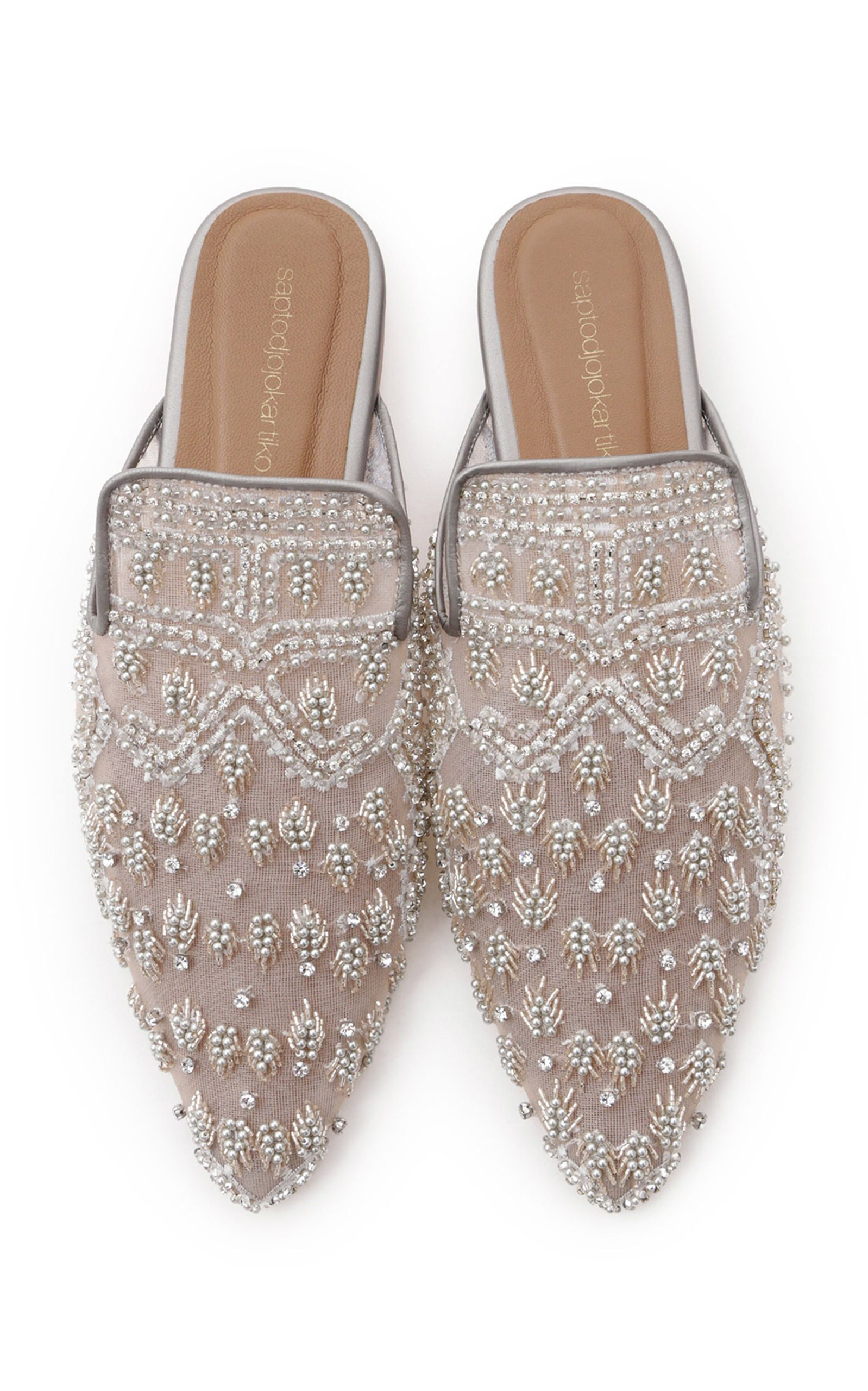 Image result for Click Product to Zoom Saptodjojokartiko Embellished Tulle And Leather Mules