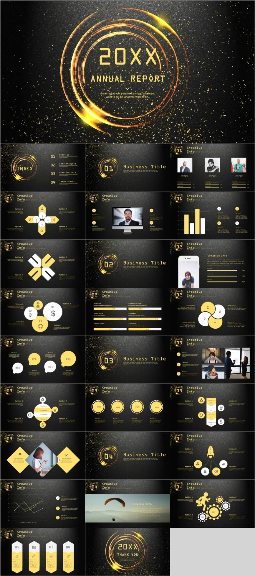 Golden annual report charts PowerPoint template