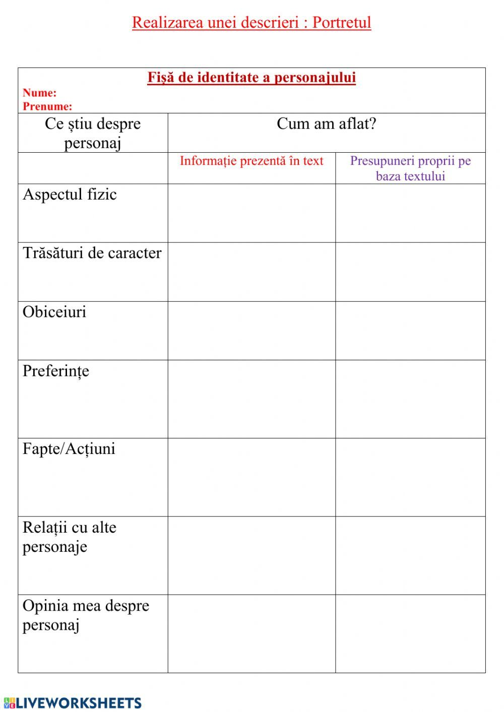 medium resolution of Realizarea unei descrieri - Portretul - Interactive worksheet   Workbook