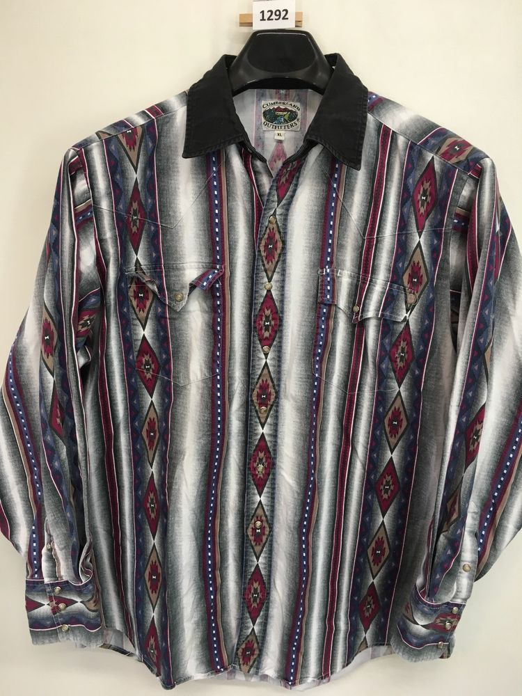 Download MENS XL CUMBERLAND OUTFITTERS WESTERN SHIRT VINTAGE PEARL ...