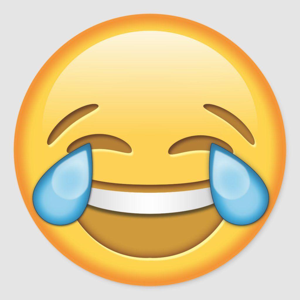 Funny Emoji Glossy Round Sticker Zazzle Com In 2020 Funny Emoji Laughing Emoji Emoticons Emojis