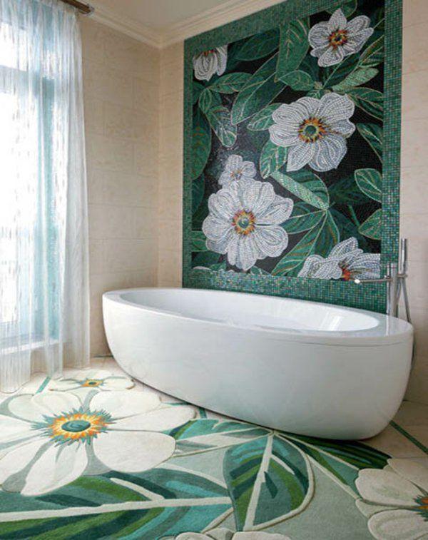 Wandgestaltung mit Farbe wandfarben ideen blumen badewanne - farben fürs badezimmer