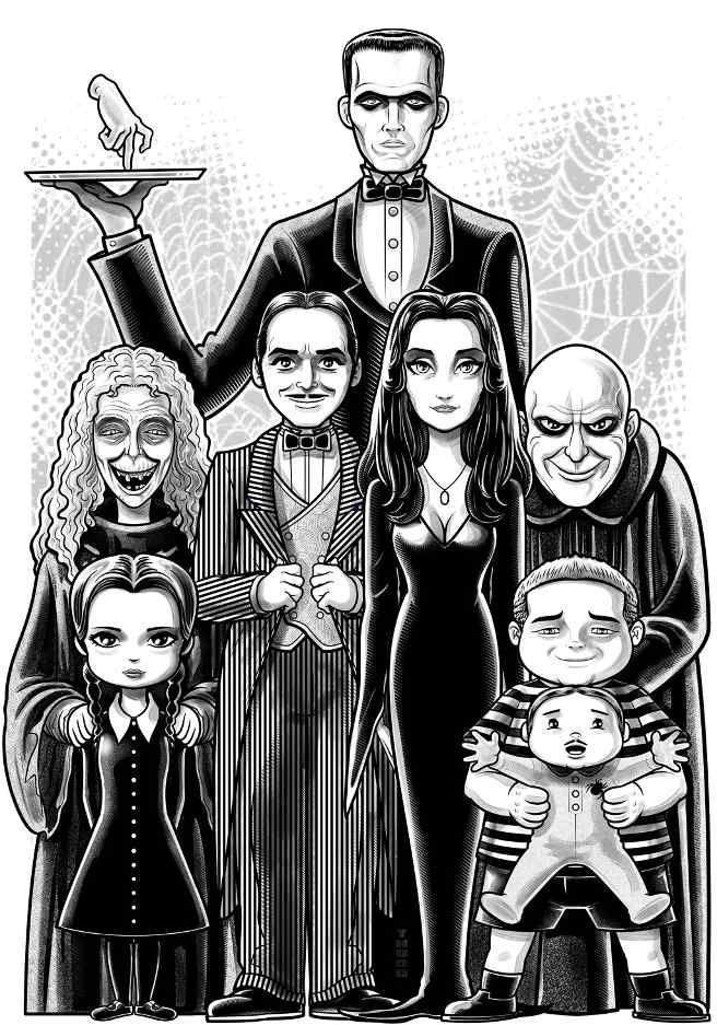 The Addams Family By Terry Huddleston Family Drawing Family Cartoon Adams Family