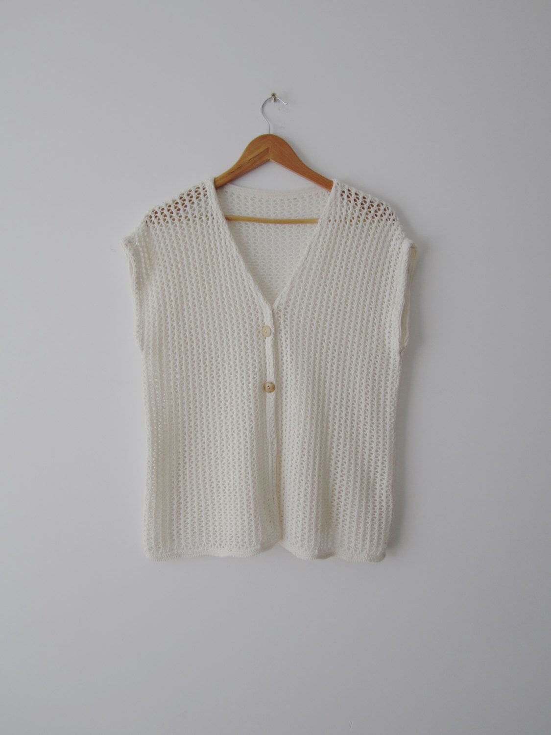 Vintage Ivory White Vest Women's Knitted Long Vest Extra Large ...